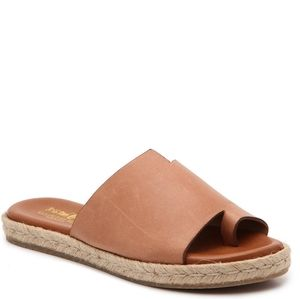 Coach and Four Leather And Straw Weave Sandal